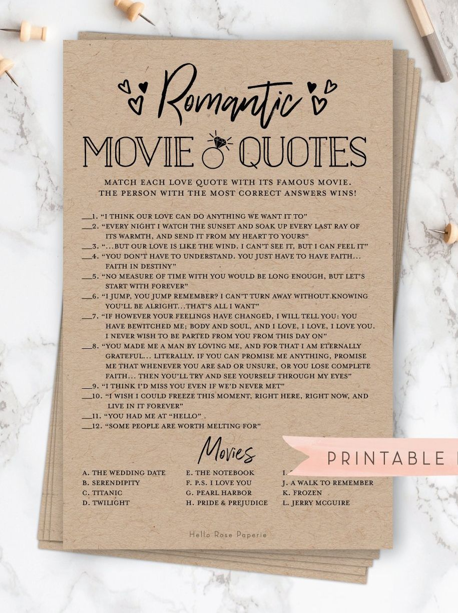 Romantic Movie Love Quotes Game . Bridal Shower Printable . Wedding Shower . Rustic Kraft + Black and White . Instant Digital Download