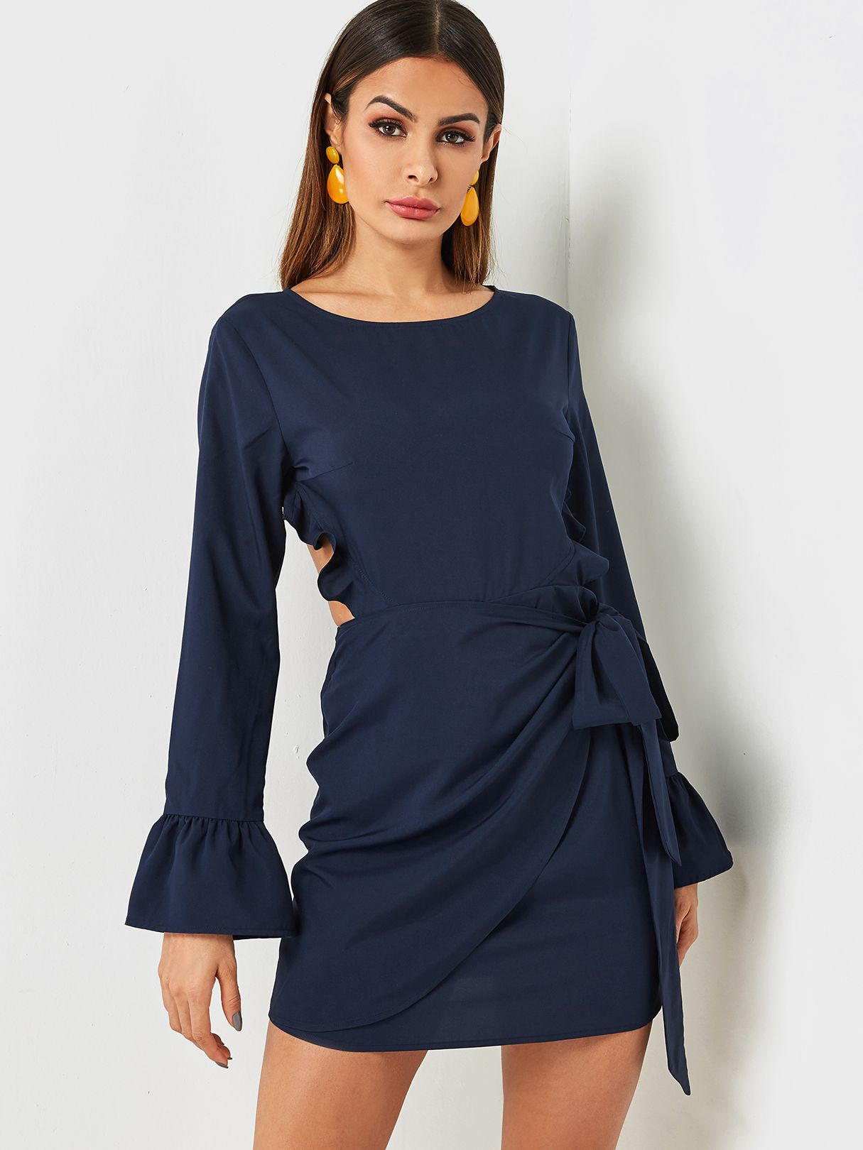 c4a7ad80ae4 Navy Self Tie Backless Design Dress - US 17.95 -YOINS