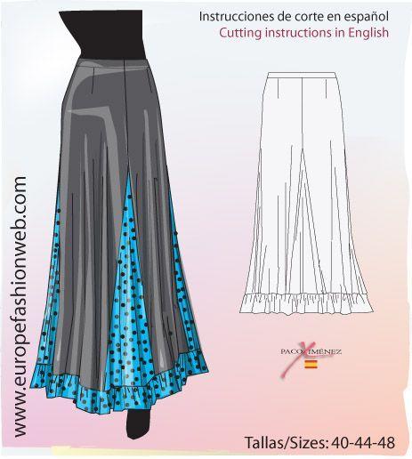 9950ea70e Falda de ensayo con godets | Costura | Flamenco skirt, Flamenco ...