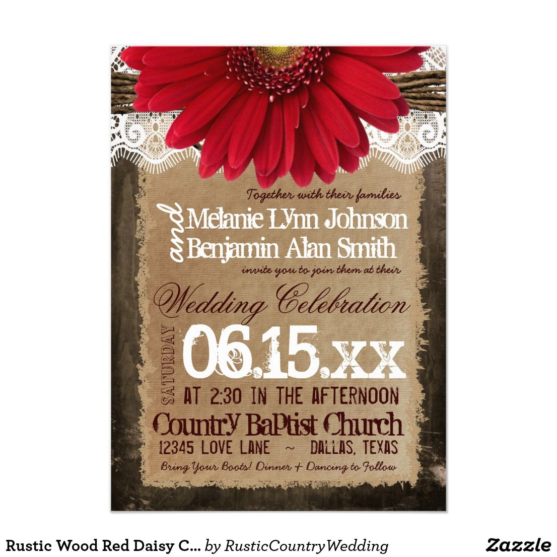 Rustic Wood Red Daisy Country Wedding Invitations | Wedding & Bridal ...