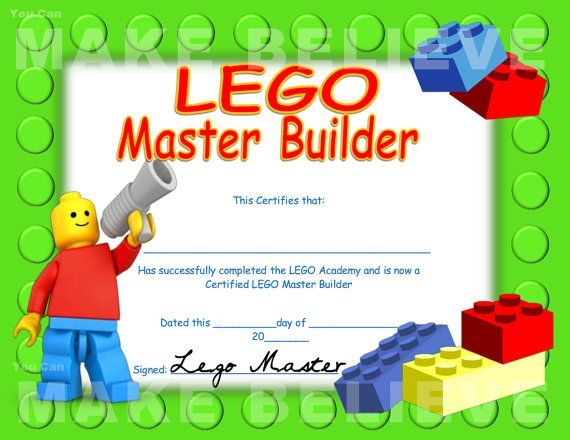 Official Lego Master Builder Certificate Printable by JenuineCards - certificate template maker