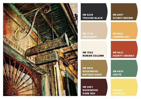 New Orleans Preservation Hall Color Palette Inspiration Chip It By Sherwin Williams Chipcard Christy C