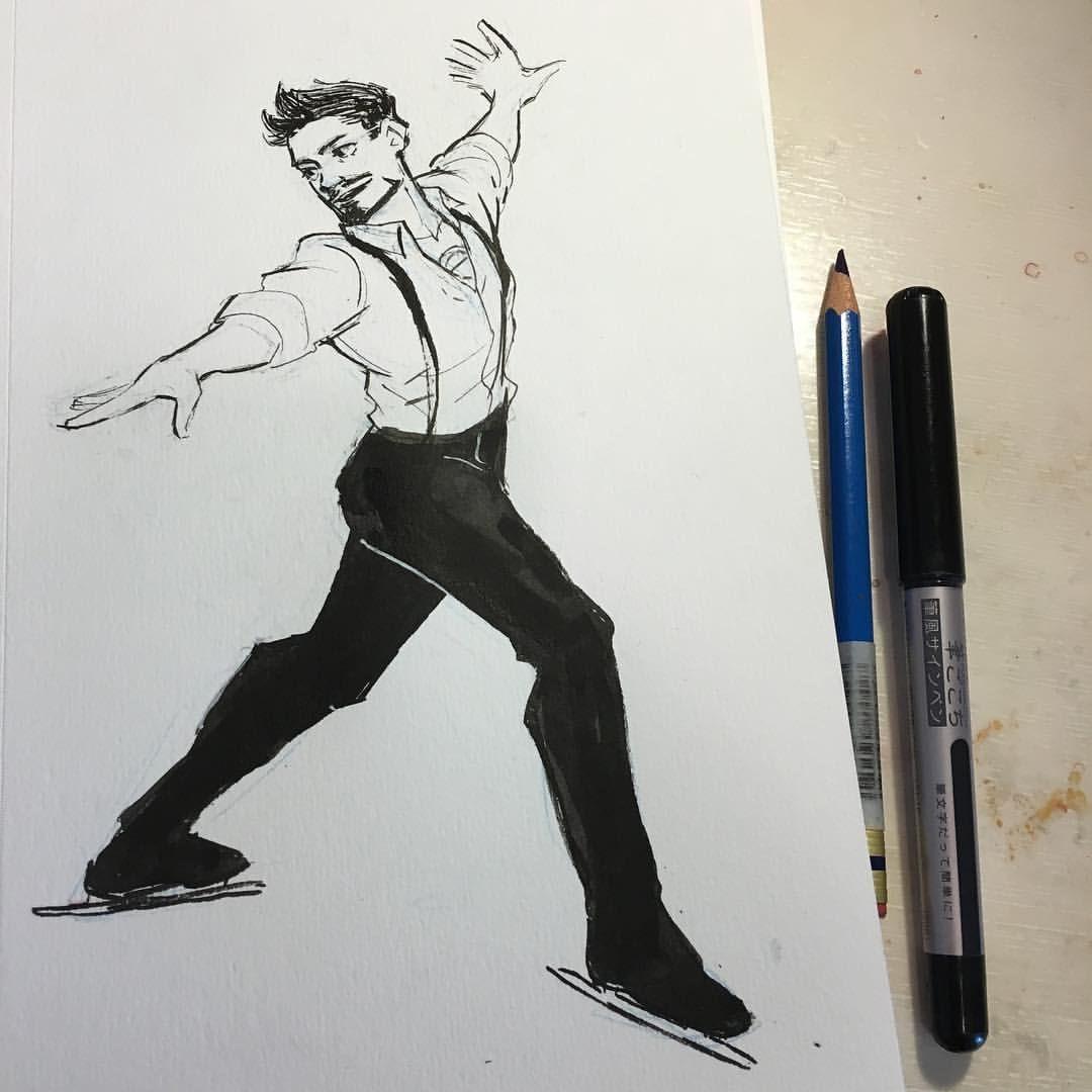 "dchanberry: "" Day 17, been watching Yuri On Ice and got inspired to draw Tony ice skating XD #inktober#tonystark #ironman #yurionice #iceskating """