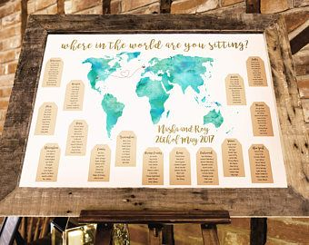 World Map Travel Themed Wedding Seating Plan Made And Personalised With S Locations
