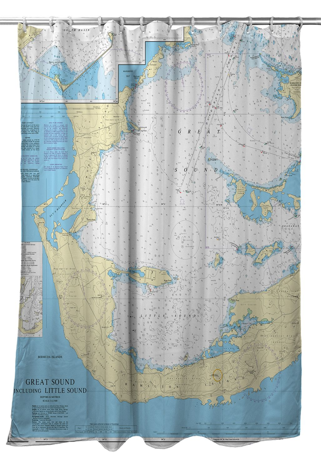 Great Sound And Little Sound Bermuda Nautical Chart Shower