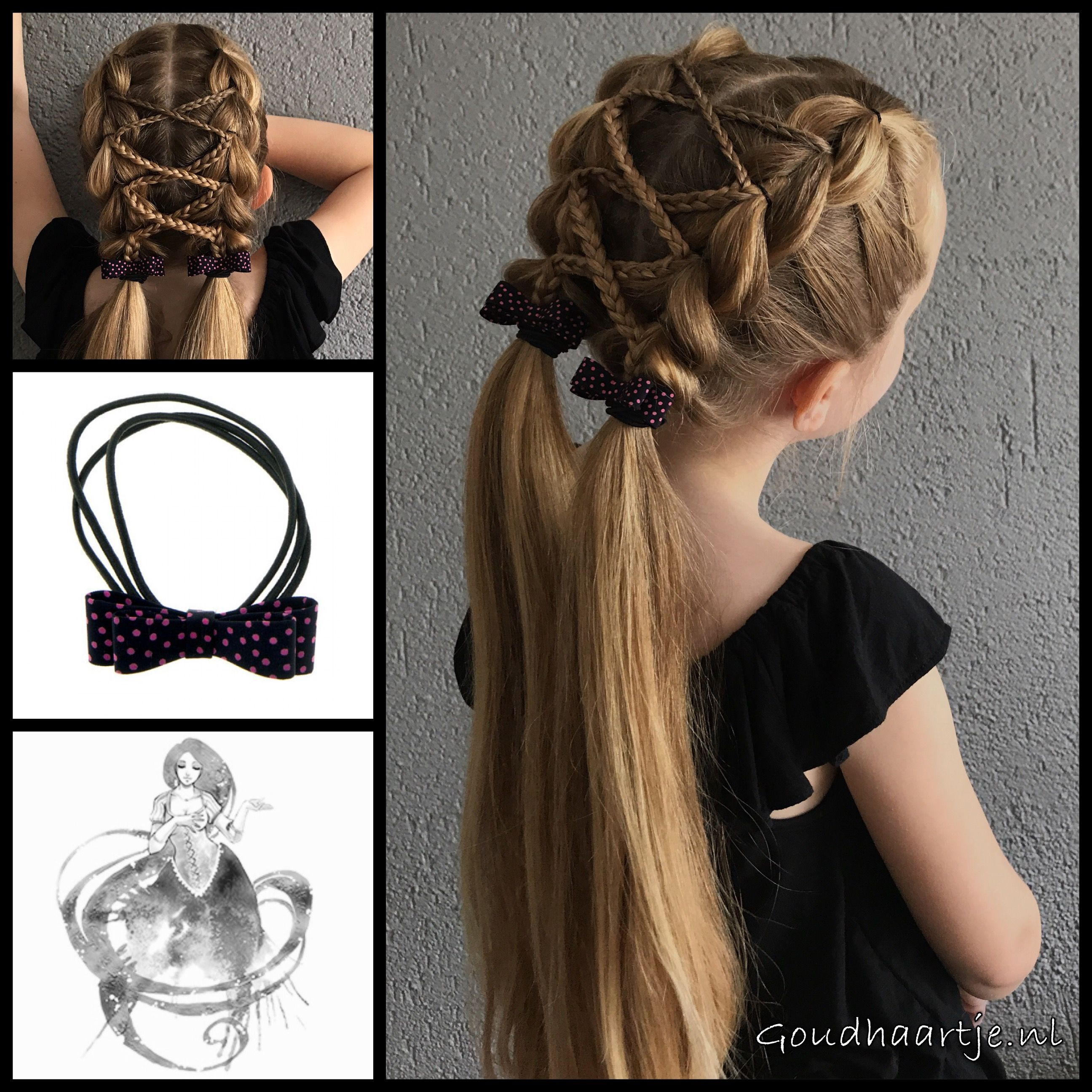 Pull through braids with micro braids into pigtails with lovely bows
