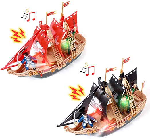Scurvy Boys Pirate Ship Adventure Light Up Sound Toy 2 Pack Kids Pirate Ship Kids Musical Instruments Pirate Ship
