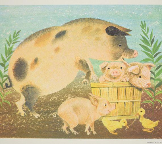 1958 Leonard Weisgard Illustration of Pigs & Ducklings, Farm Animals ...