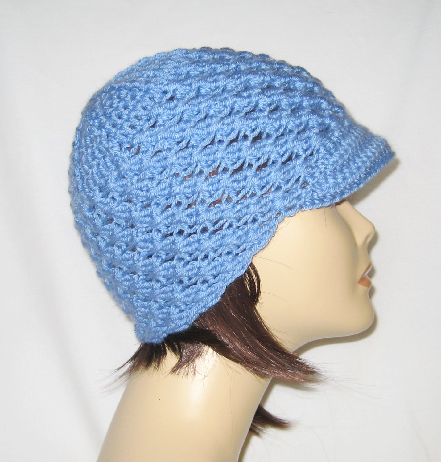"beanie with brim,newsboy hat,hat with brim,lite blue,made to fit teens and adults 21-23"" by Jeniebugs on Etsy"
