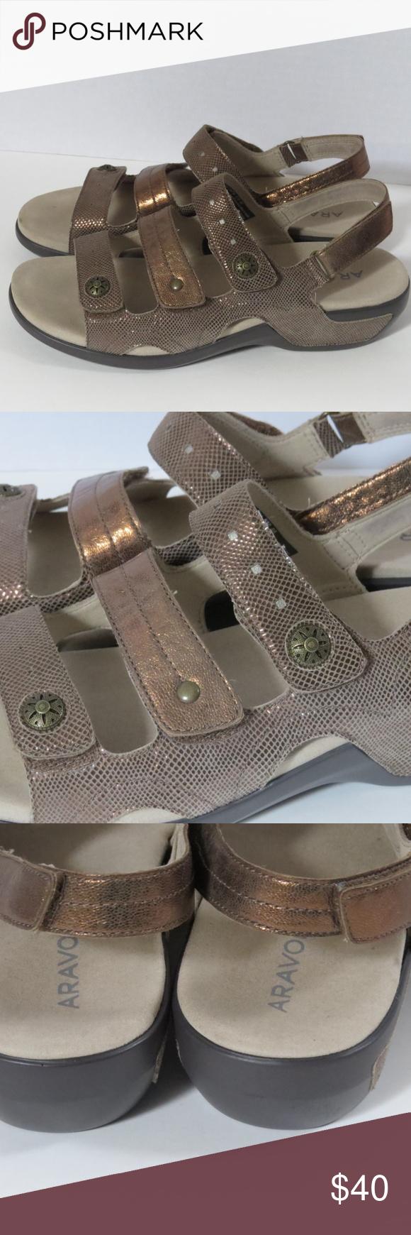 ee34038fa Rockport Aravon Metallic 3 Strap Comfort Sandal 10 Rockport Aravon metallic power  comfort 3 strap sandals