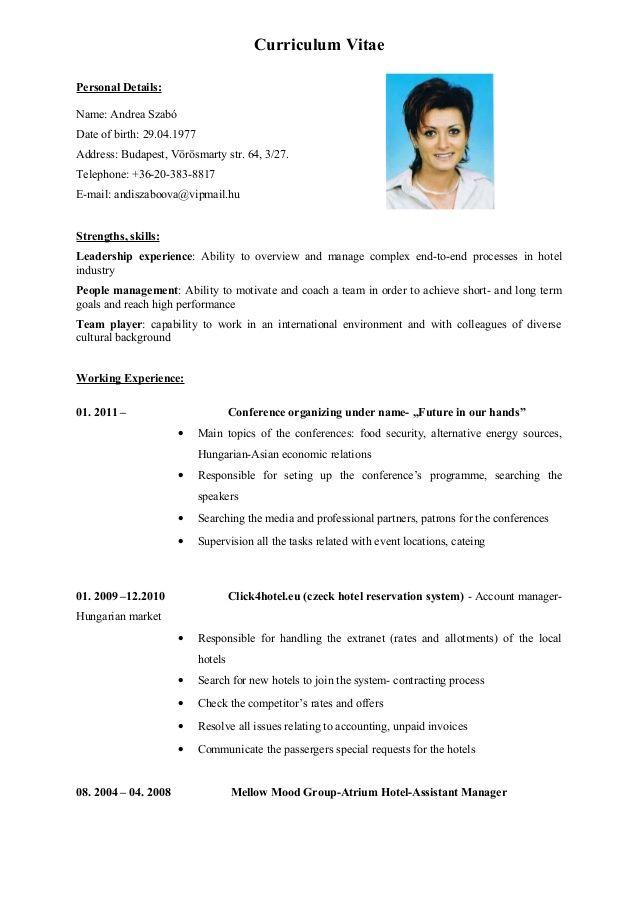 curriculum vitaepersonal details name  andrea szab u00f3date of