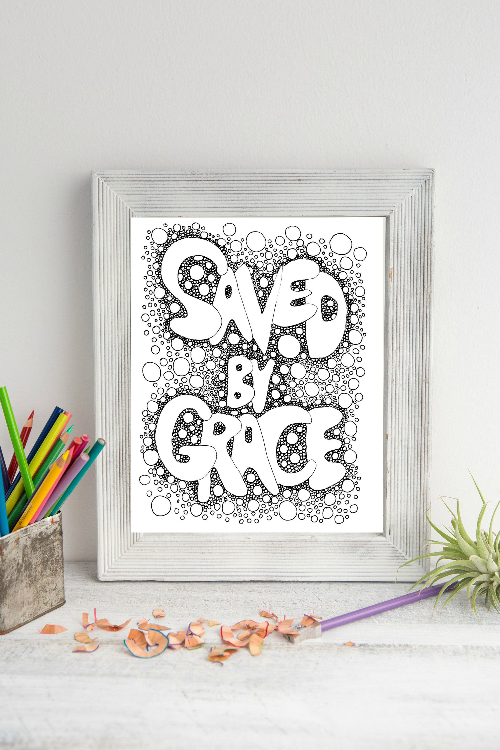 Saved by Grace - Easy Coloring Pages - Spiritual Prints, Circle Art ...