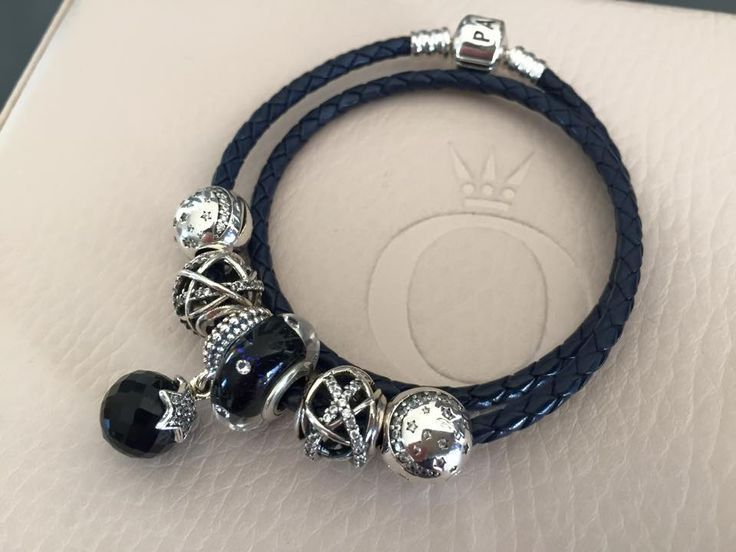 bracelet triple cuir noir pandora
