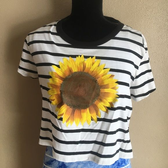 UO Cute sunflower crop top. Truly madly deeply Striped sunflower crop top. Large good used condition Urban Outfitters Tops Crop Tops