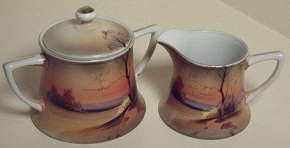 Meito China Handpainted Tea Service Set tea pot by HabitShmabit