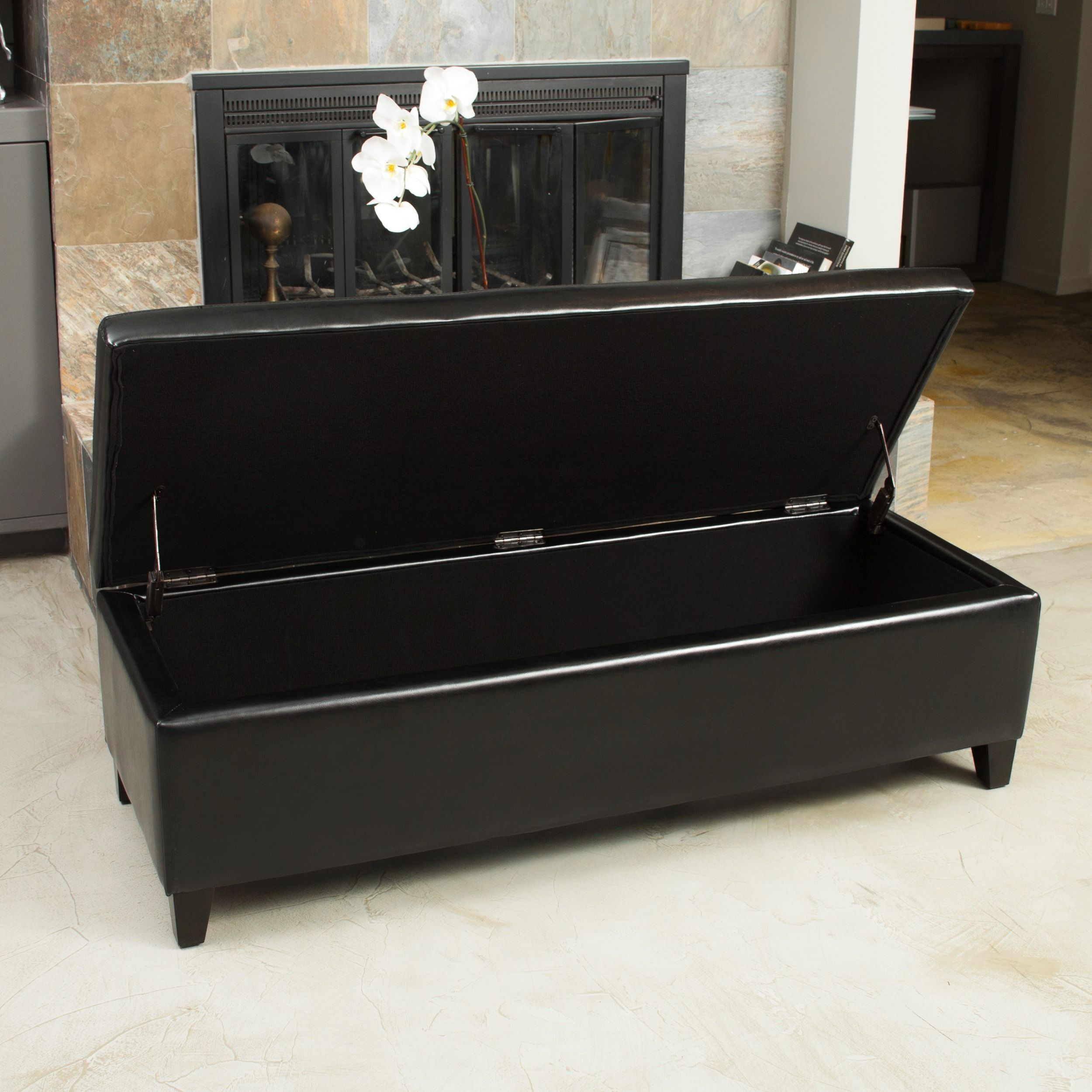York Bonded Leather Black Storage Ottoman Bench By Christopher Knight