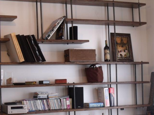 Bibliotheque Sur Mesure Bois Metal Micheli Design Bibliotheque Bois Metal Decoration Maison Bibliotheque Metal
