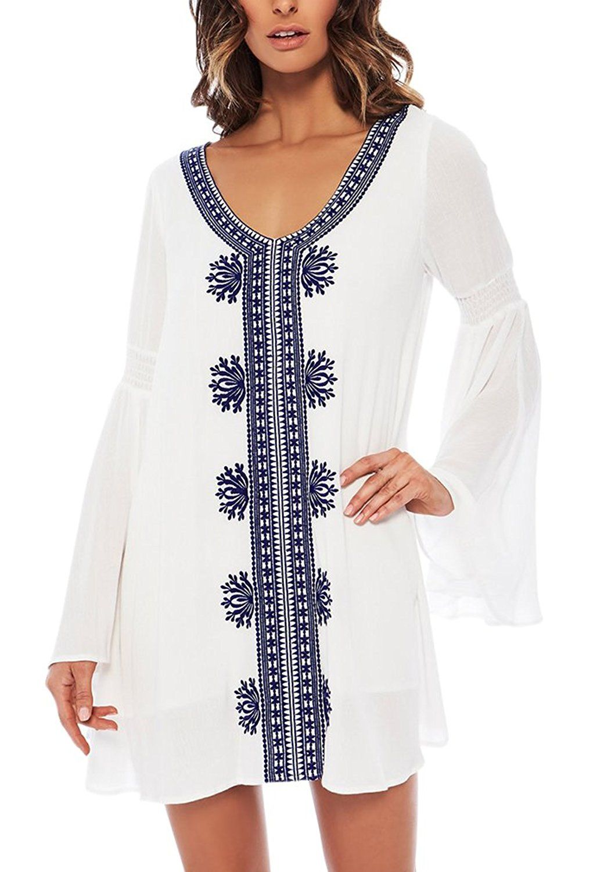 Aiyue Women S Summer White Cotton Plus Size Trumpet Sleeve Beach Bikini Cover Up Swimwear Kaftan Kimono Dress Blouse Amazon Co Uk Clothing Long Sleeve Bikini Beach Wear Dresses Cover Up