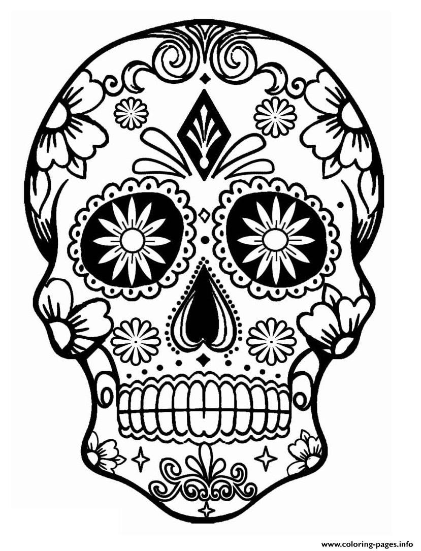 Print Simple Sugar Skull Calavera Coloring Pages Skull Coloring