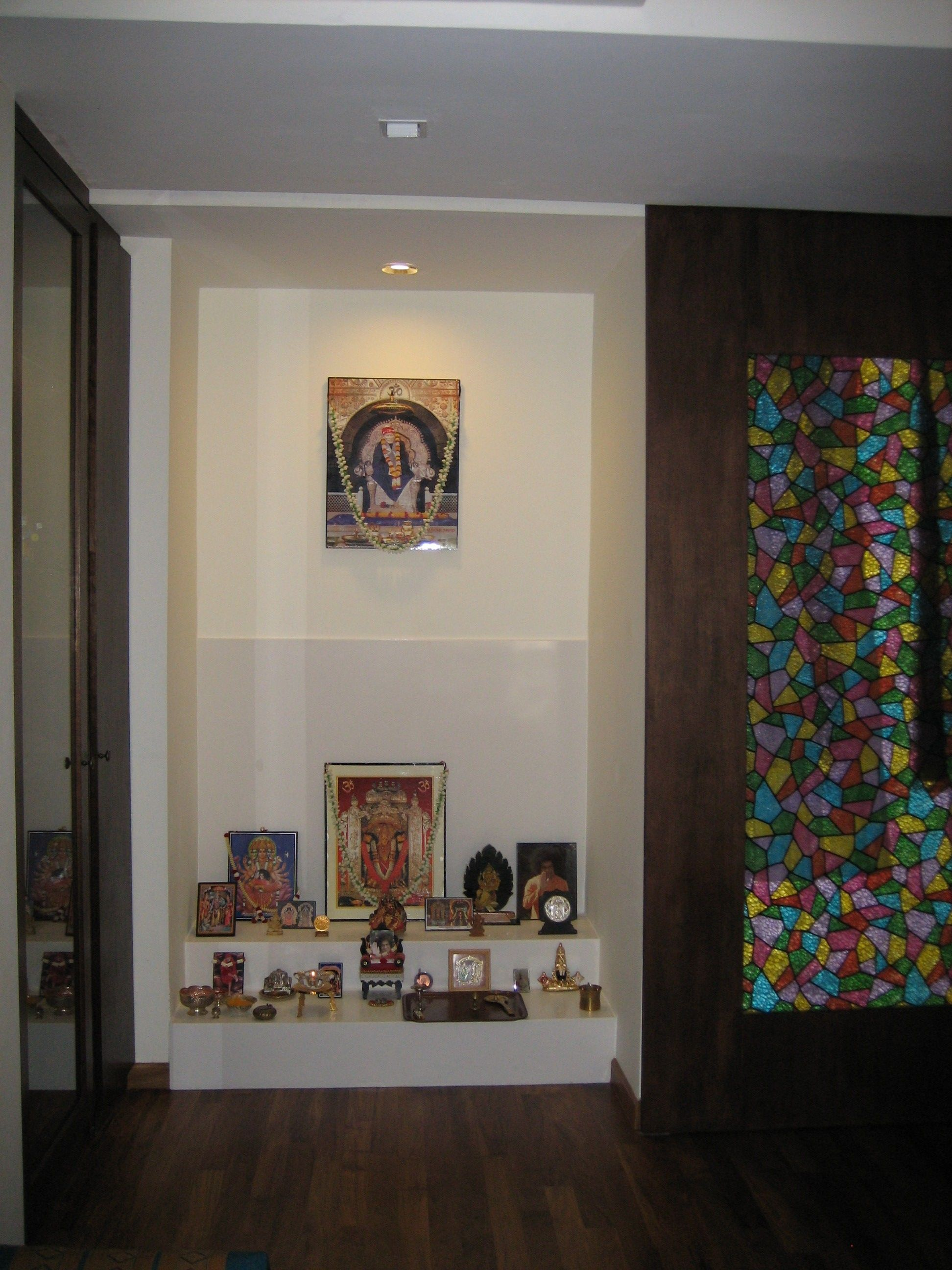Puja room design home mandir lamps doors vastu idols - Pooja room door designs in kerala ...