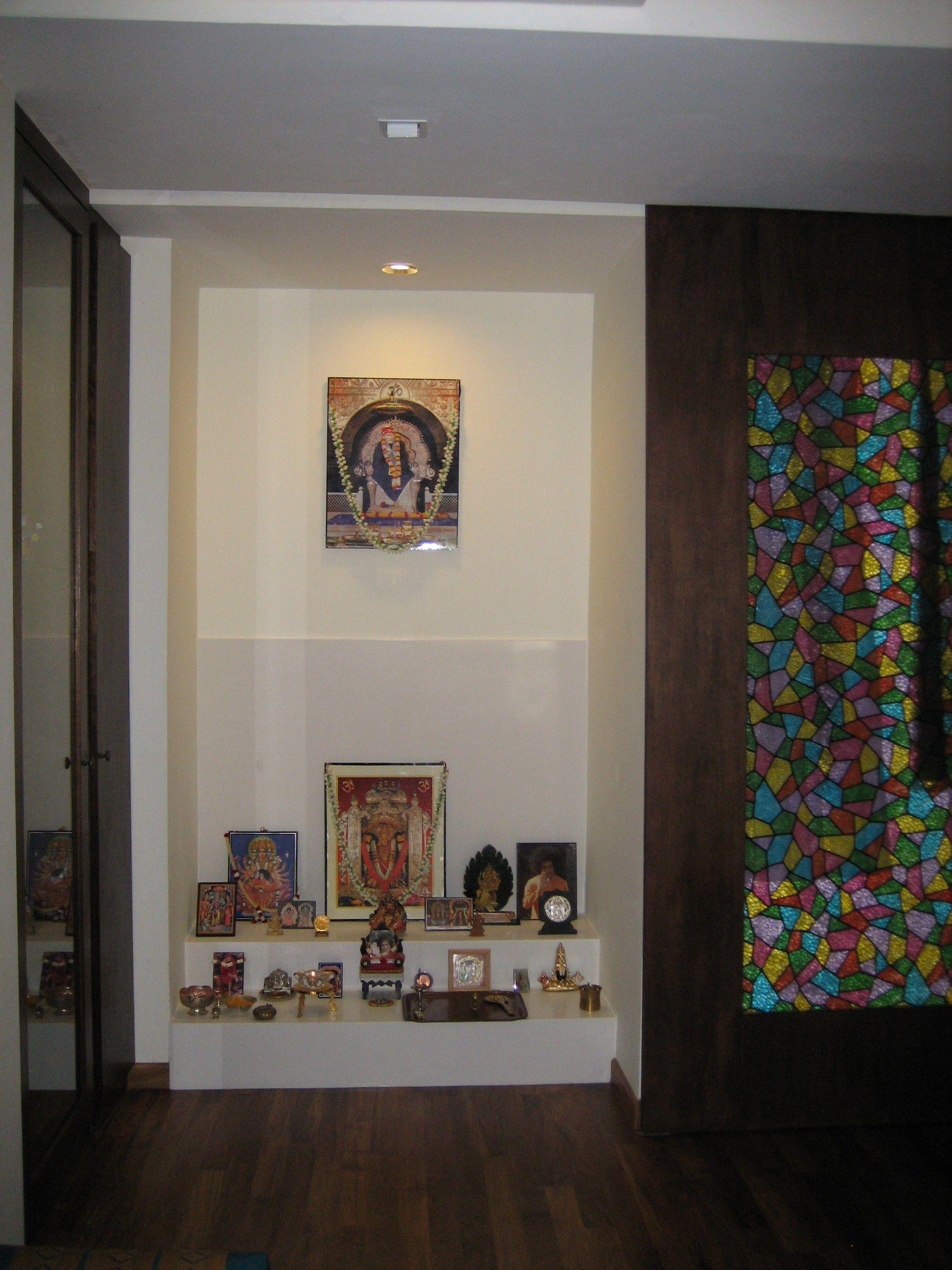 Lovely Puja Room Design. Home Mandir. Lamps. Doors. Vastu. Idols Placement.