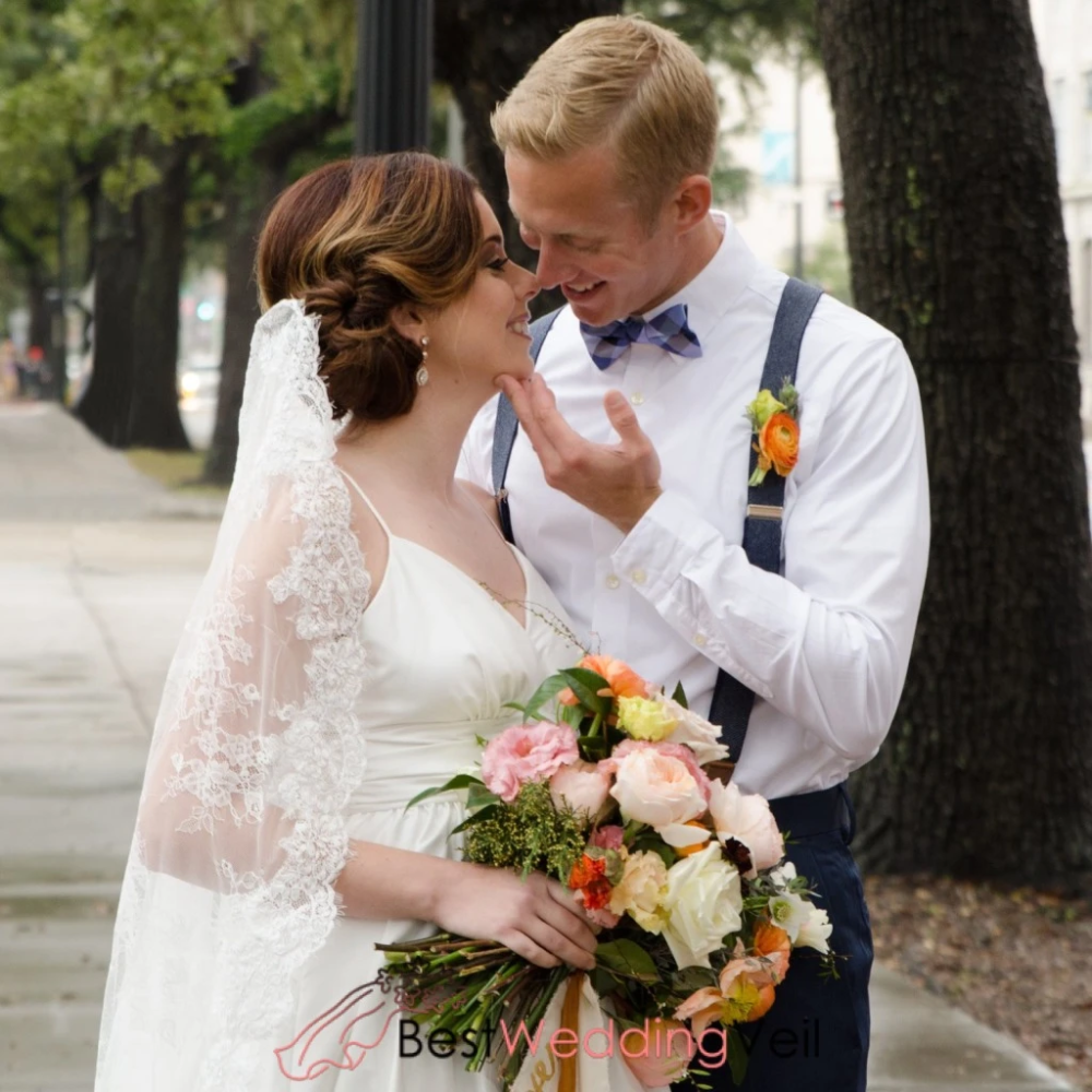 Chantilly Lace Drop Style Veil Wedding