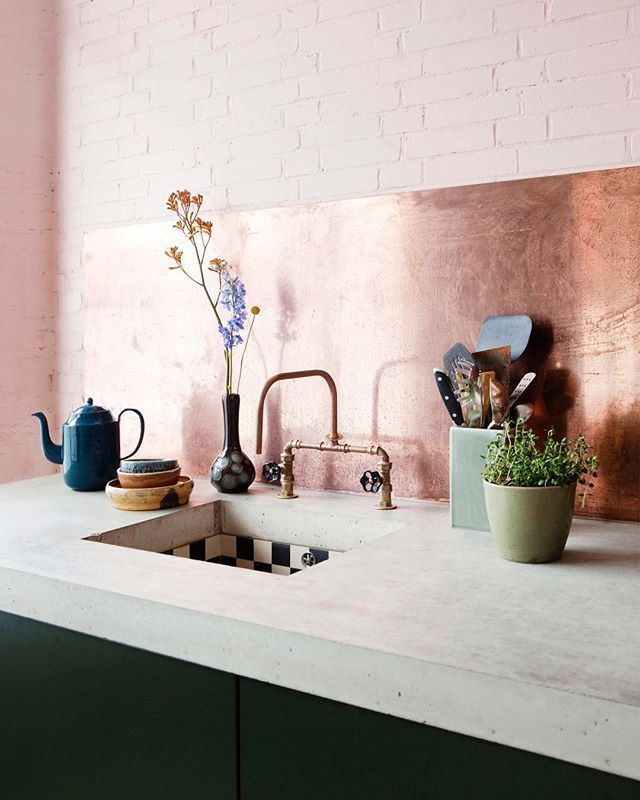 #colorpalette #copperandpink #kitchen #athome #int... - #athome #backsplash #colorpalette #copperandpink #int #Kitchen #interiordesign