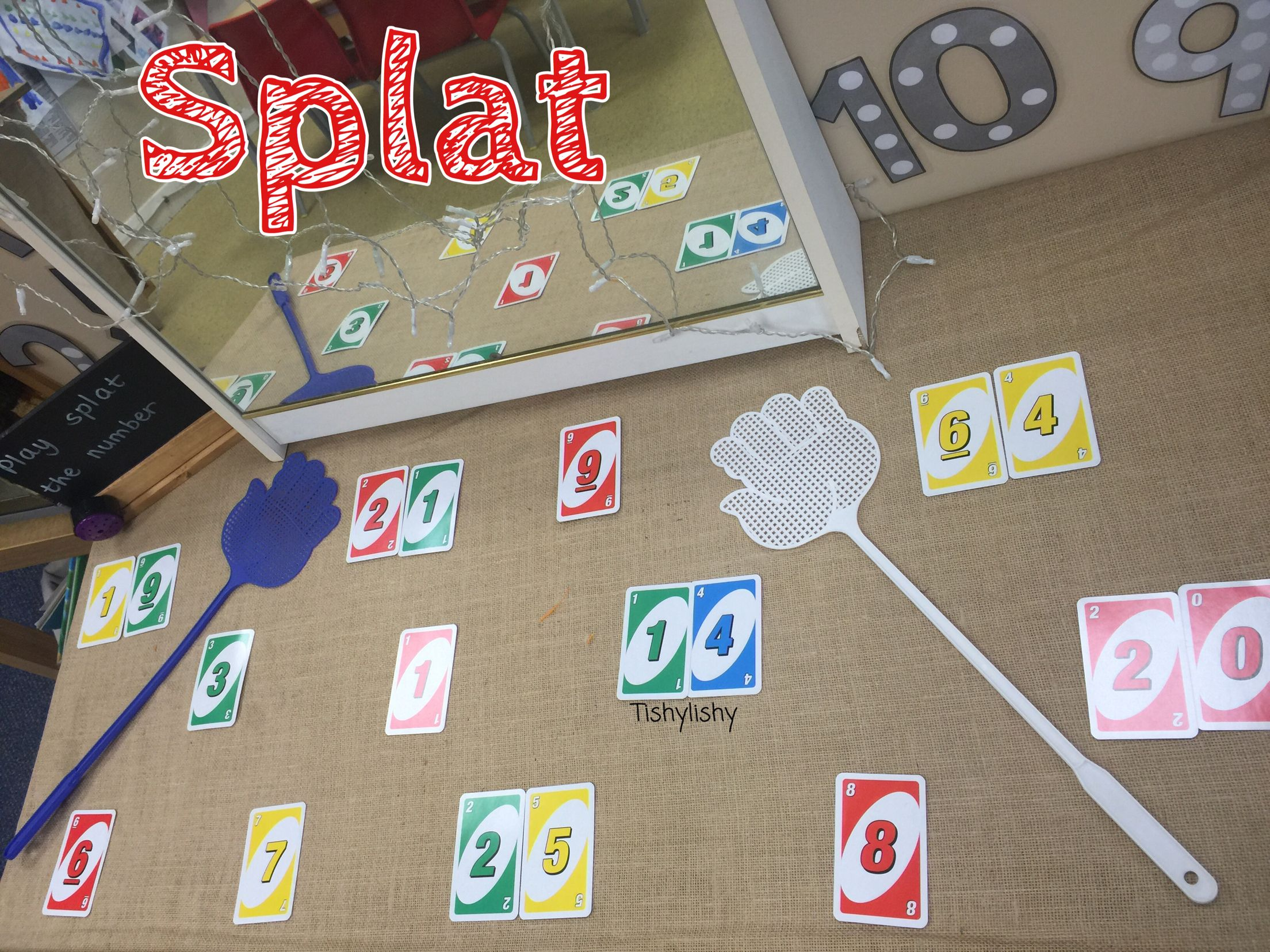 Splat The Number Game Using Uno Cards And Fly Swatters