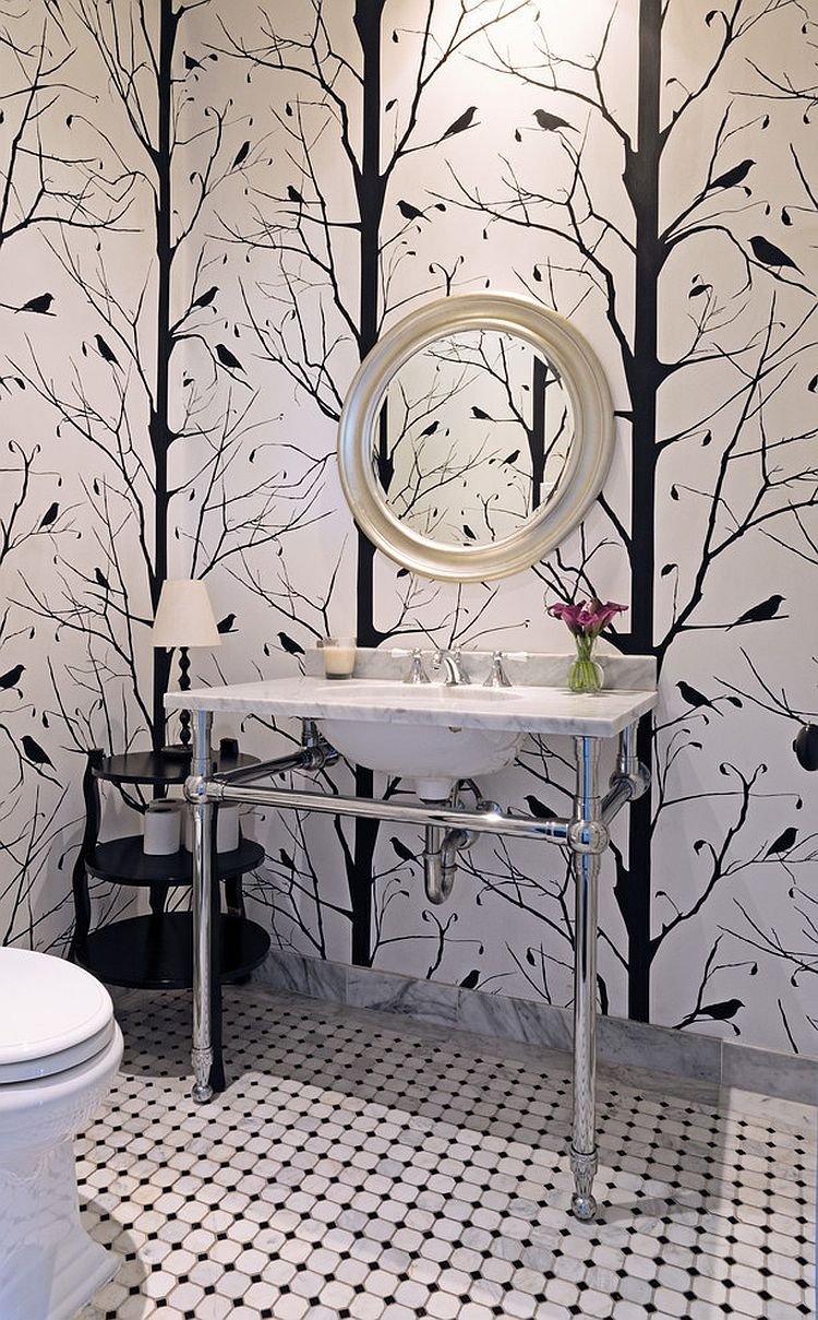 Always On Trend 20 Powder Rooms In Black And White Wallpaper Interior Design Bathroom Wallpaper Black And White Black Wallpaper Bedroom