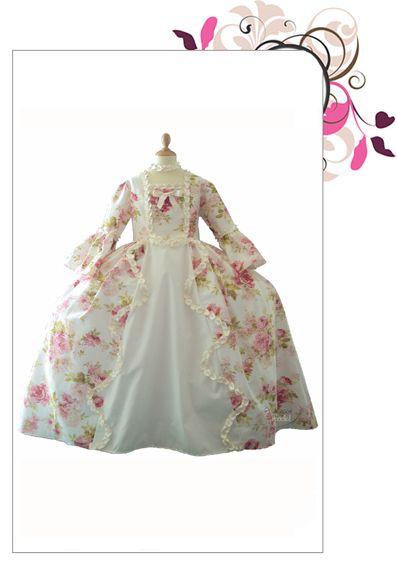 9eebb0d3252 robe-marie-antoinette-fleurie Princesse Ariel