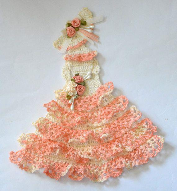 Crinoline Lady Hand Crochet Doily... in Cream with Orange Sherbet ...