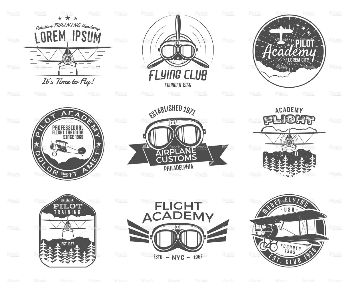 Vintage Airplane Emblems Biplane Labels Retro Plane