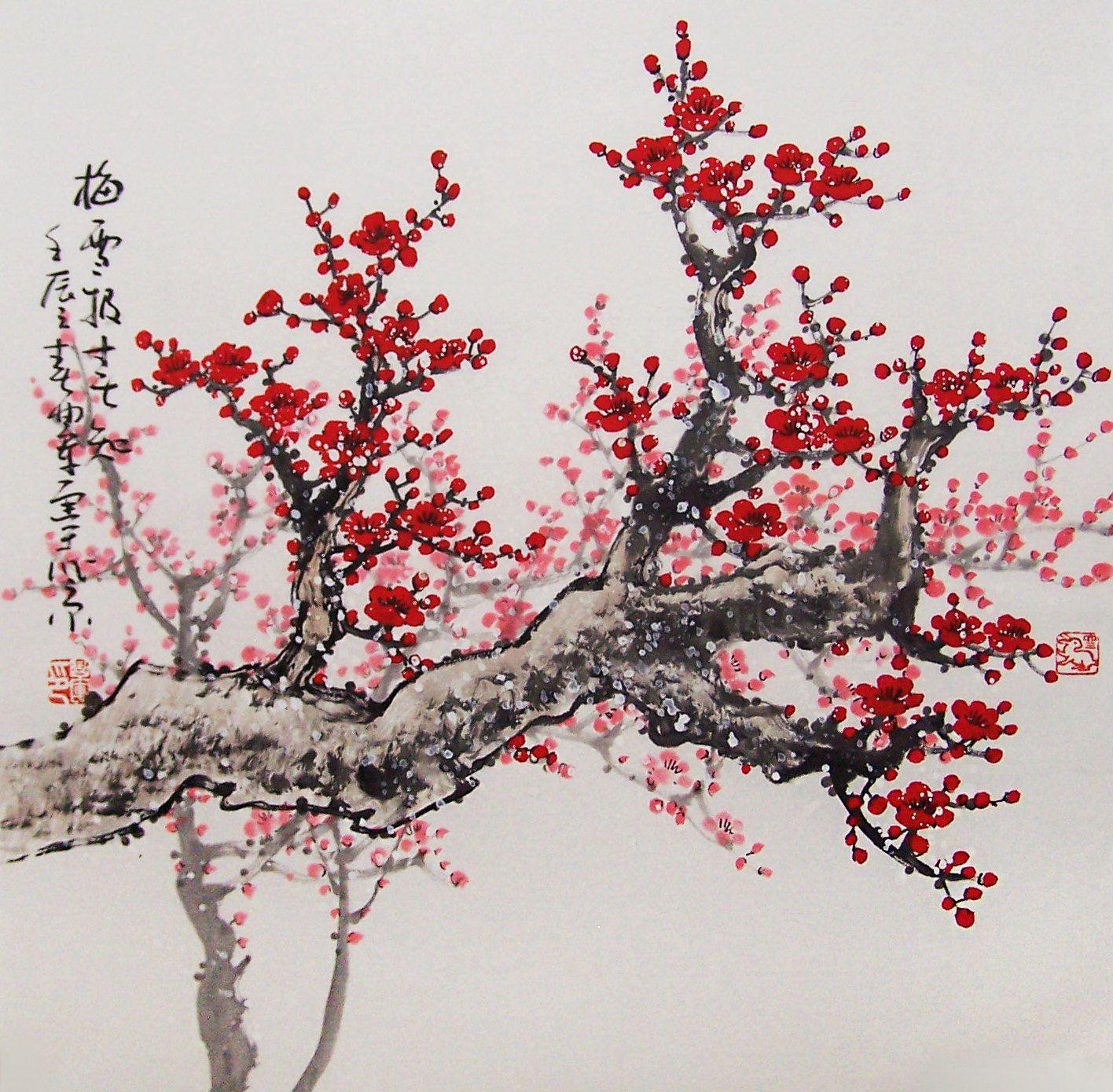 Original Painting Chinese Art Lovely Cherry Blossom Tree No 21 Tree Painting Blossom Tree Tattoo Sakura Tree