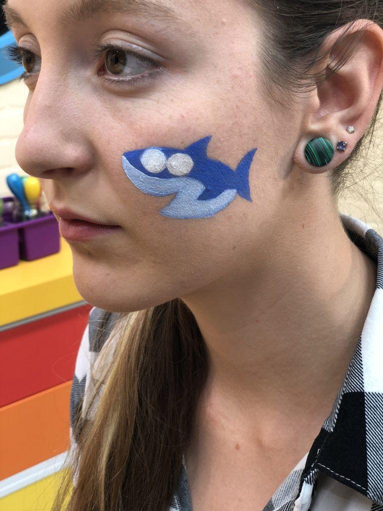 Baby Shark Face Paint Easy Halloween Face Painting Face Painting Halloween Face Painting Halloween Kids