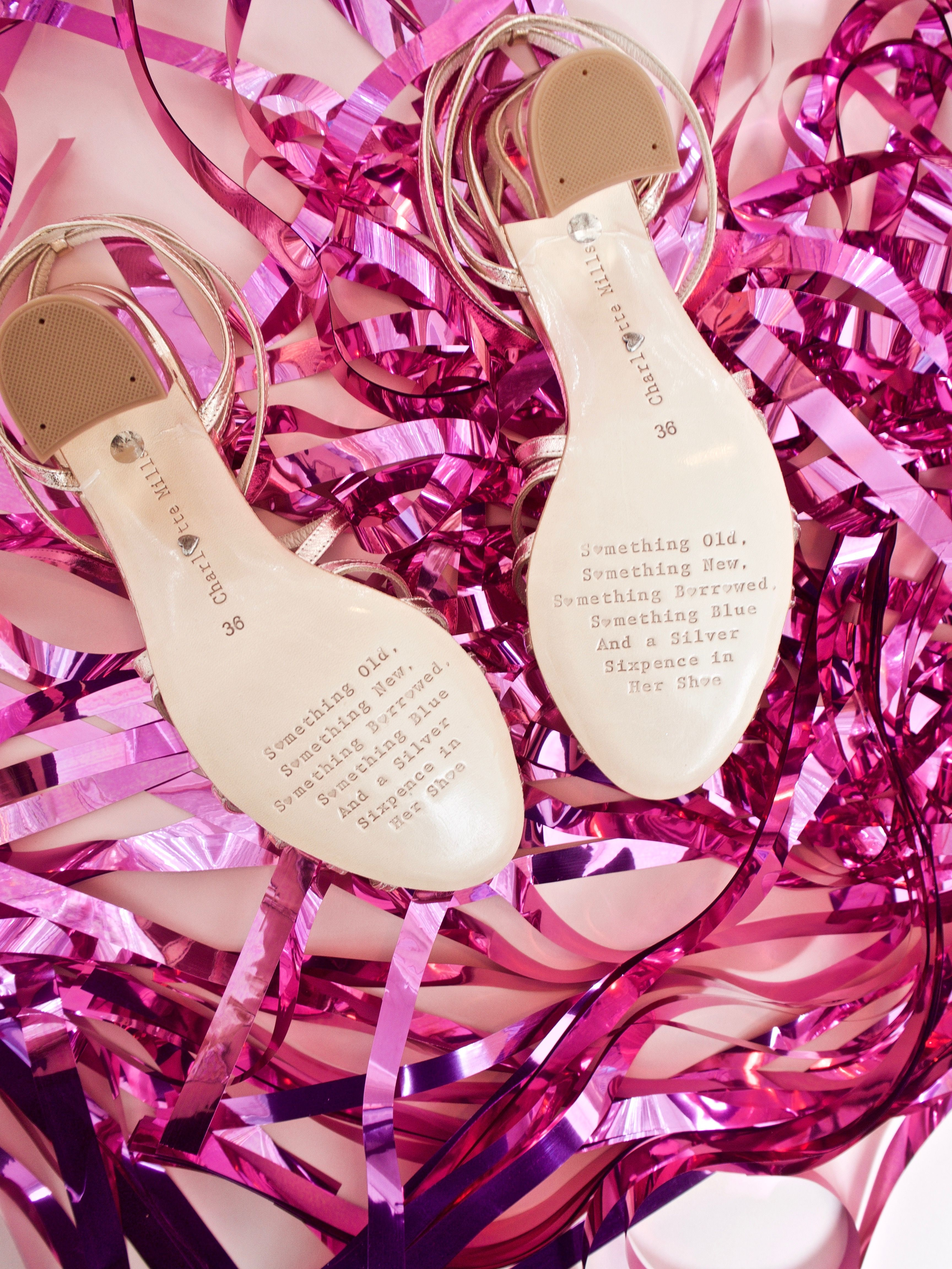 All Of The Charlotte Mills Bridal Shoes Have A Beautiful Poem Engraved Onto Bottom Shoe Something Old New Borrowed