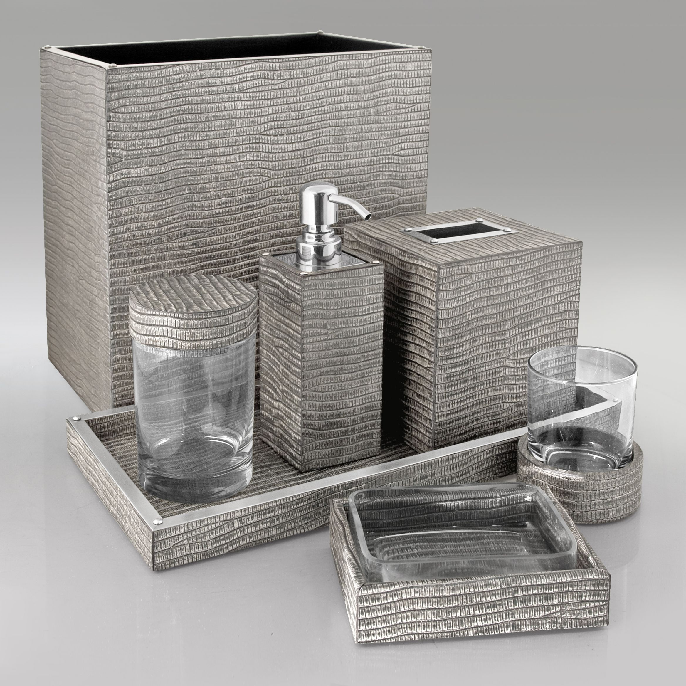 silver lizard bath by gail deloach home leather bath sets bathroom accessories luxury. Black Bedroom Furniture Sets. Home Design Ideas