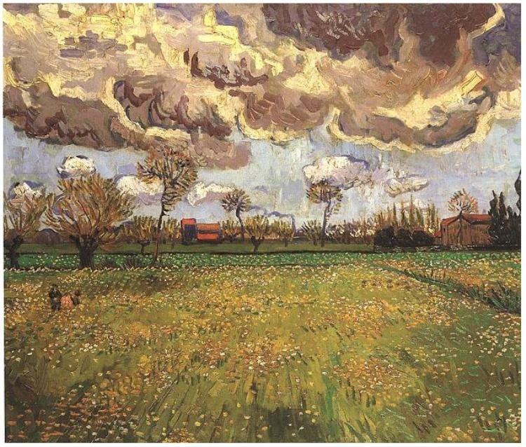 Painting, Oil on Canvas Arles: May, 1888 Fondation Socindec Vaduz, Liechtenstein, Europe Image Only - Van Gogh: Landscape Under a Stormy Sky