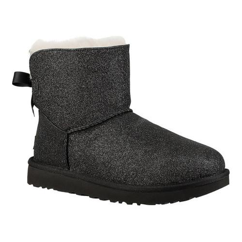 c1639841952 Women's UGG Mini Bailey Bow - Black Glitter Sparkle Textile Boots ...