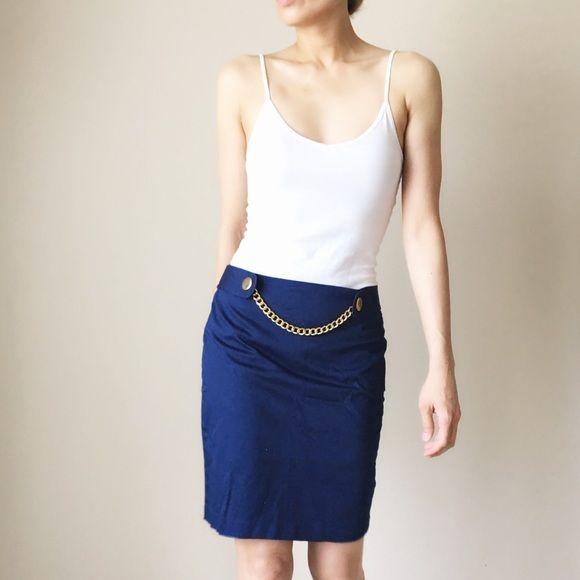Cobalt blue skirt with gold metal chain Cobalt blue skirt with metal chain Skirts Mini