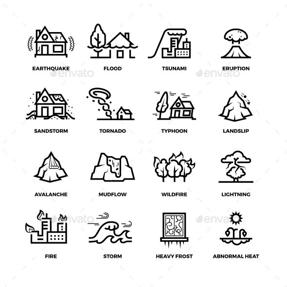 Natural disaster accidents line vector icons and damage