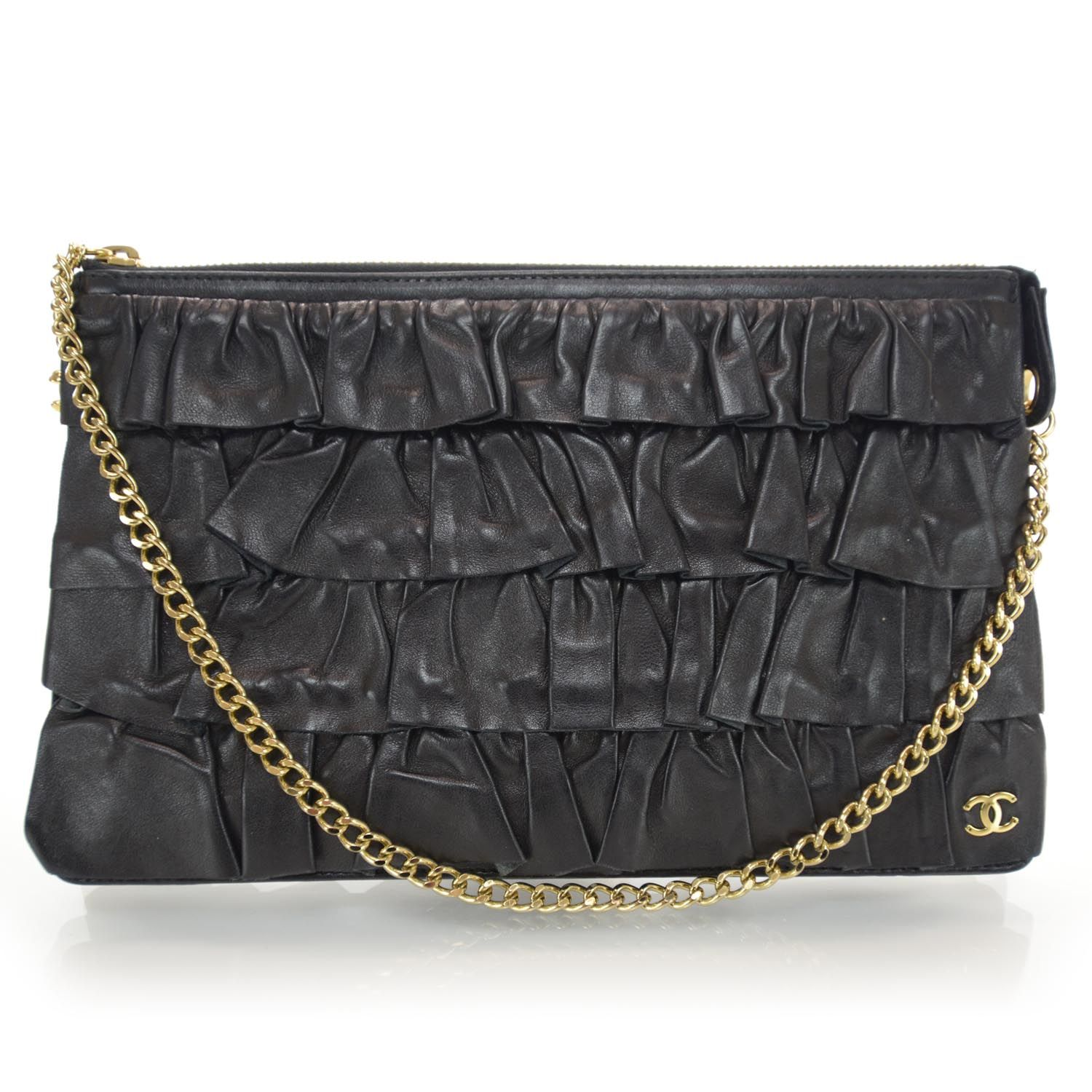 993fe4fa2de4 CHANEL Lambskin Ruffle Evening Bag Black