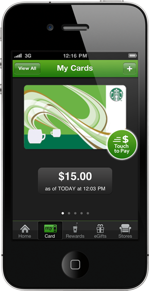 Starbucks on the run Iphone manage, Starbucks card, App