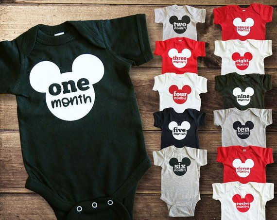 26686c706 Monthly Milestone Bodysuits - Disney Baby - Baby Shower Gift - Baby Boy  Gift Set - New Baby Outfit -