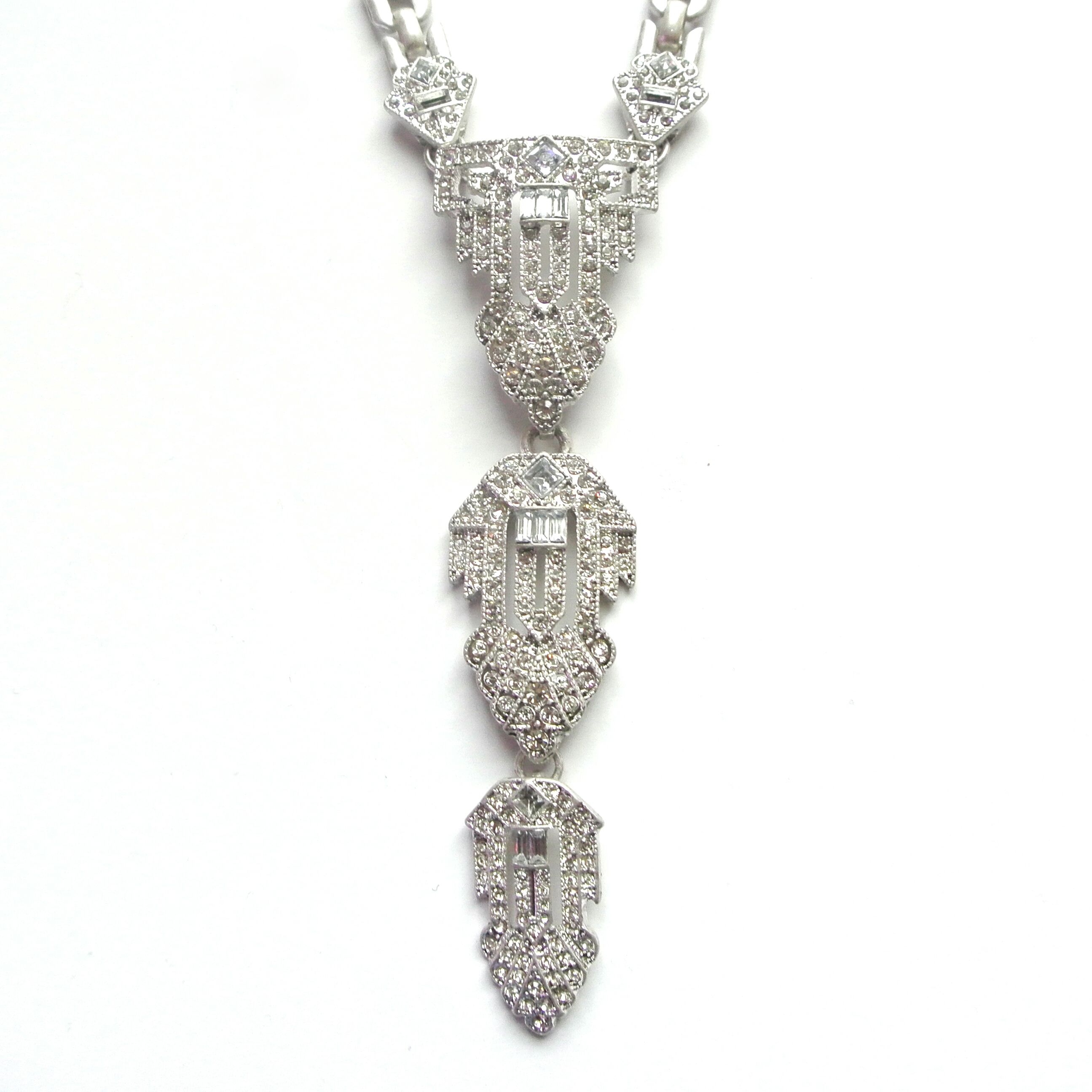 Art Deco Style Jewelry Boxes Art Deco Style Necklace With Crystal Encrusted Pendant Perfect