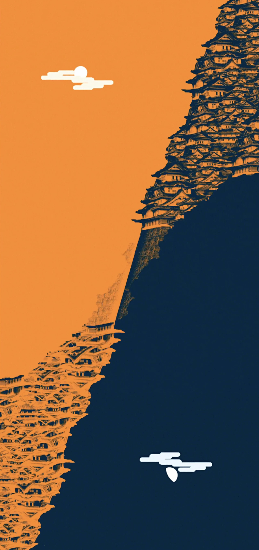 Samurai Champloo Orange And Blue Villages Put Together In 2020 Samurai Champloo Dark Souls Wallpaper Samurai Art