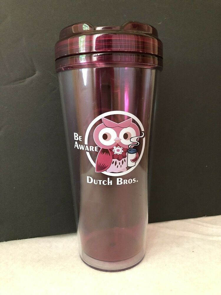 Dutch bros brothers pink be aware owl 25 oz coffee tea