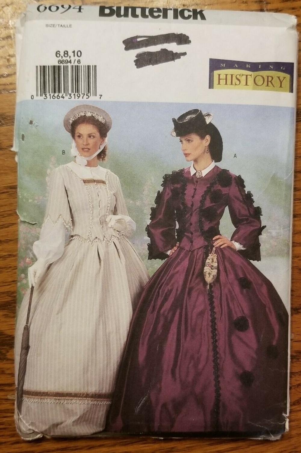 Details about Butterick Pattern 6694 1800s CIVIL WAR SCARLETT DRESS UNCUT 6, 8, 10 Victorian #dressesfromthesouthernbelleera