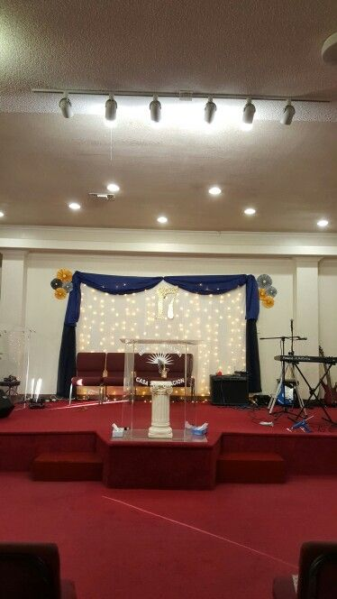 Church Decoration Anniversary Special Event Backdrop With Lights And Curtains Decor For Stage