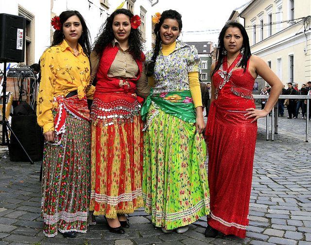 Roma girls, International Roma Day, Cluj, Transylvania, Romania; Cluj County style.