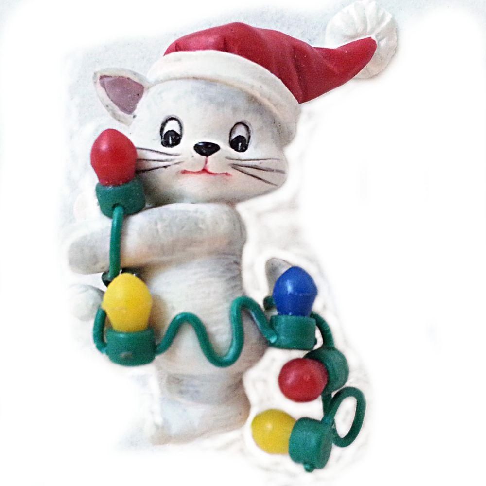Avon Cat Vintage Brooch Holiday Pin Christmas Lights Santa Hat Resin p272 #Avon